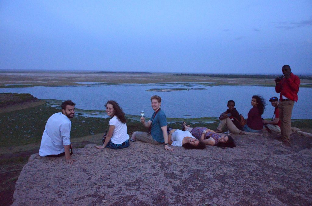 Princeton and Clombia University students enjoy a sundowner in Amboseli